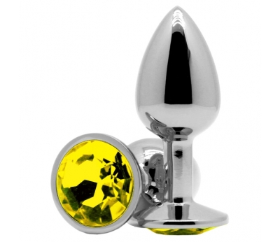 Анальное украшение Butt Plug Silver-Yellow 7см*2,8см