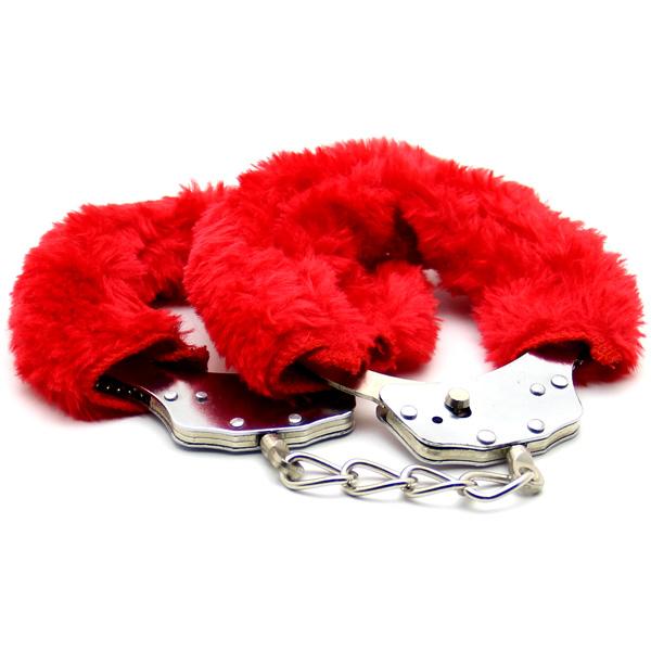 Стальные наручники с мехом Love Cuffs Red