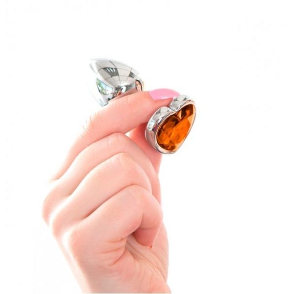 Анальная пробка с кристаллом Butt Plug Heart - Amber 7см*2,8см