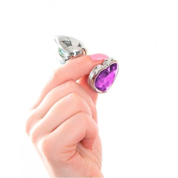 Анальная пробка с кристаллом Butt Plug Heart - Liliac 7см*2,8см