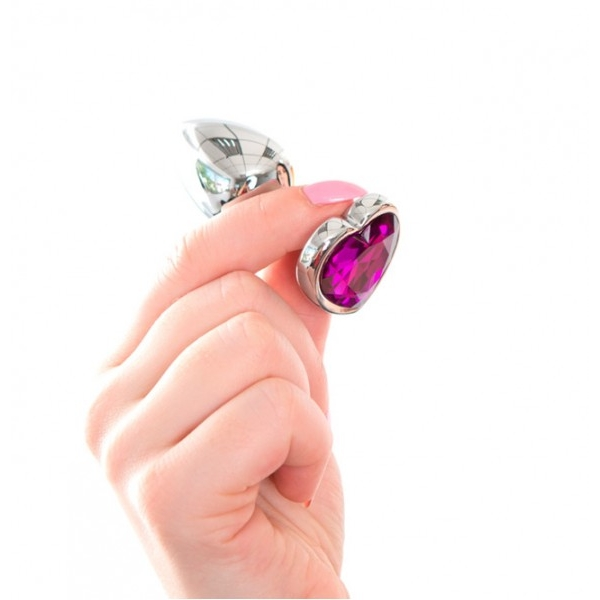 Анальная пробка Butt Plug Heart - Purple 7см*2,8см