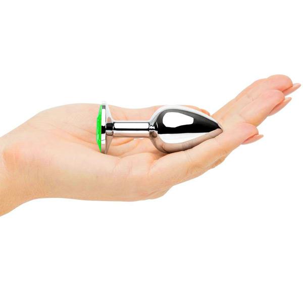 Анальное украшение Butt Plug Silver-Light Green 7см*2,8см