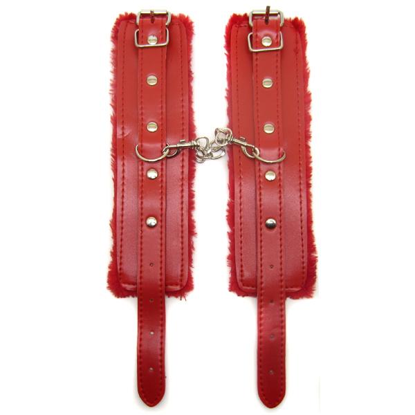 Наручники из экококожи Fluffy Cuffs Red