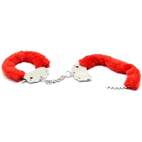 Меховые наручники Steel Hand Cuffs Red