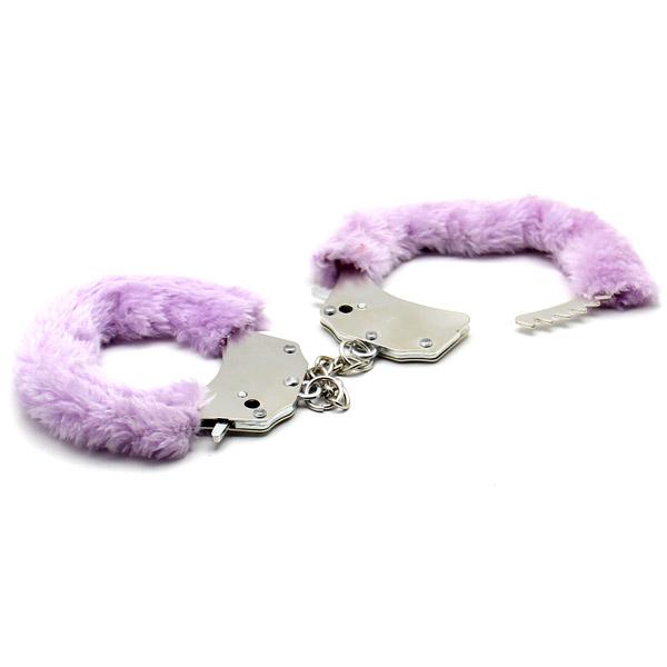 Меховые наручники Steel Hand Cuffs Liliac
