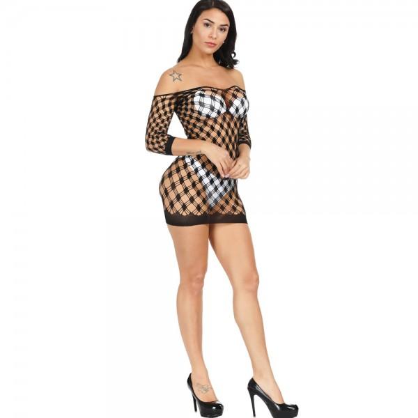 Платье с рукавами из черной сетки Sexy Fishnet Lingerie #041