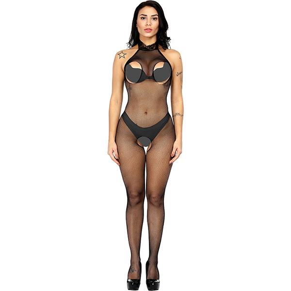 Чулок на тело из сетки с воротничком Sexy Fishnet Lingerie #211