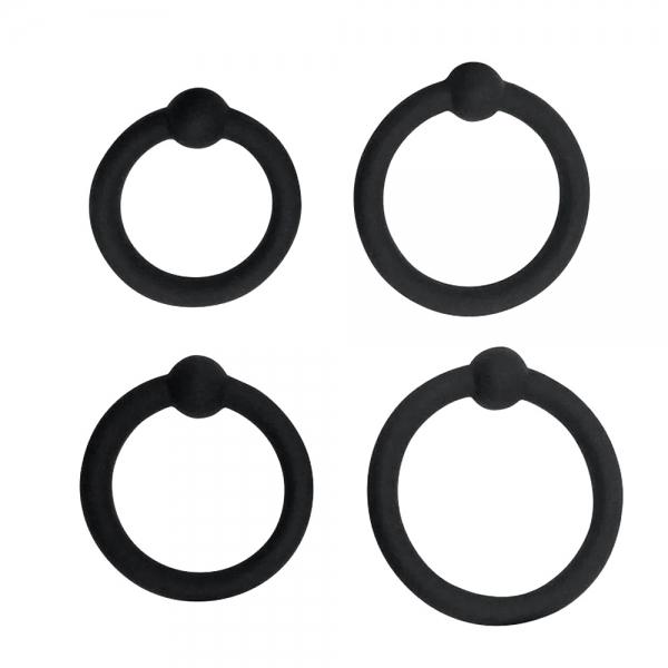 Набор из 4-х эрекционных колец из силикона с бусинами