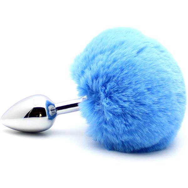 Анальная пробка с заячьим хвостом Rabbit Tail Blue
