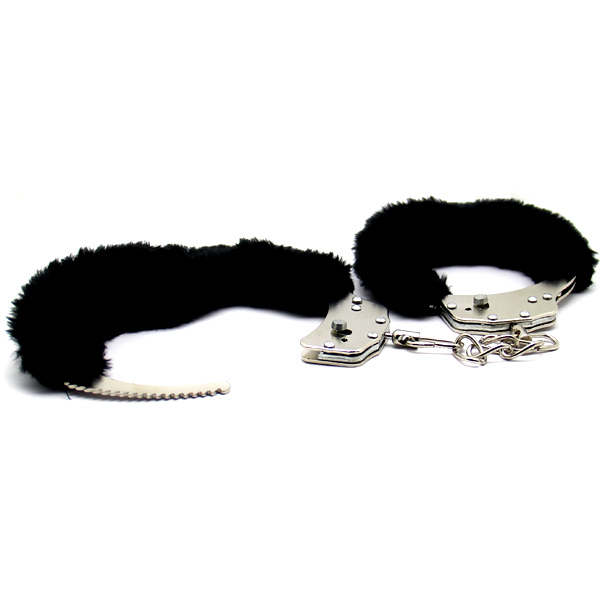 Стальные наручники с мехом Love Cuffs Black