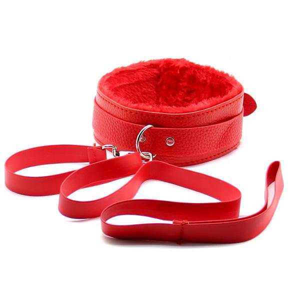 Широкий ошейник с поводком Dog-Collar Red